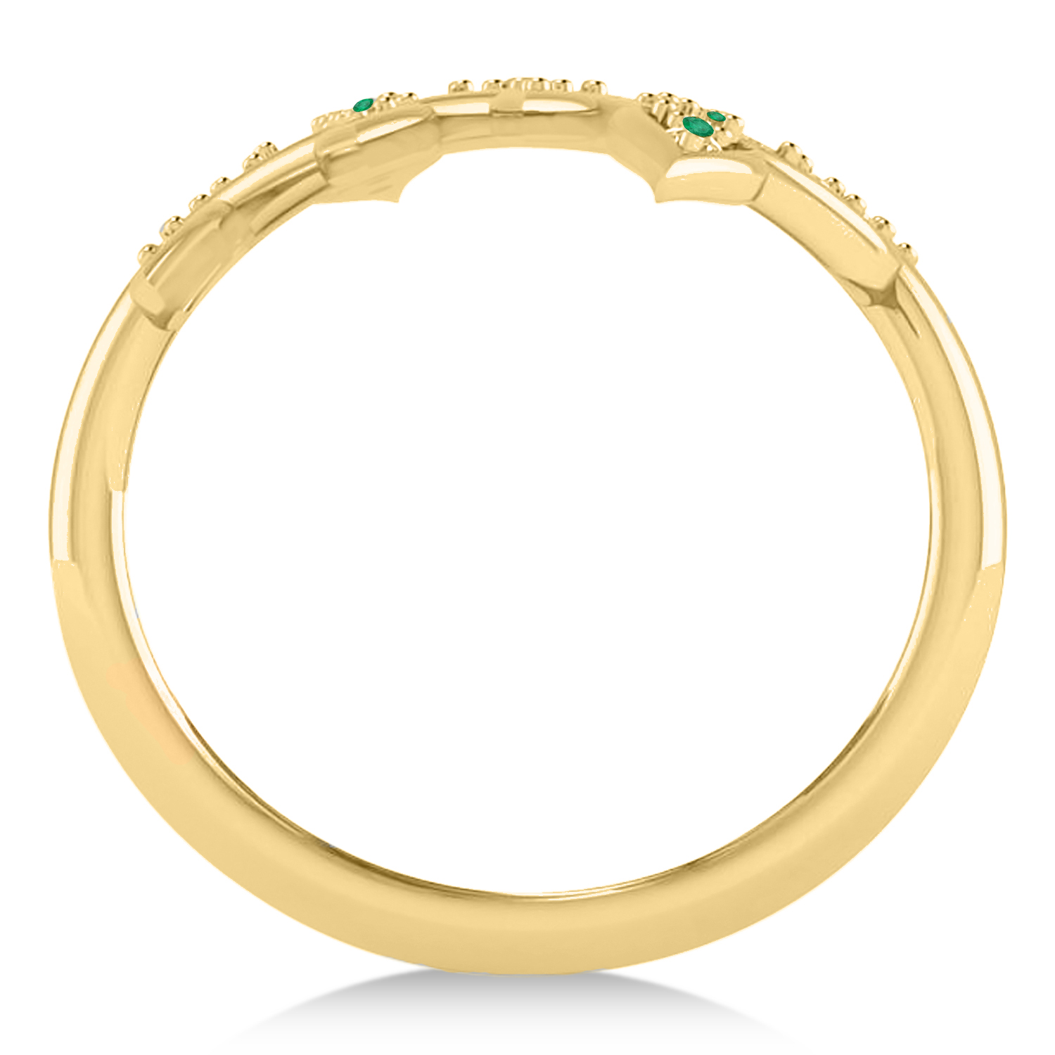 Emerald Olive Leaf Vine Fashion Ring 14k Yellow Gold (0.28ct)