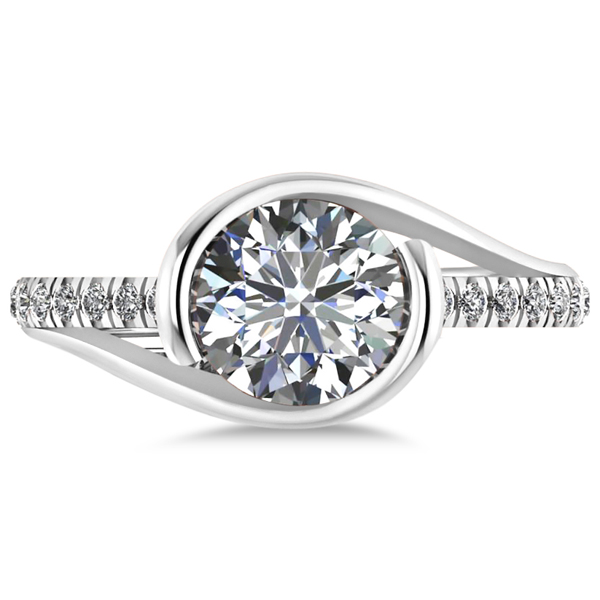 Diamond Twisted Engagement Ring in 14k White Gold (1.71ct)