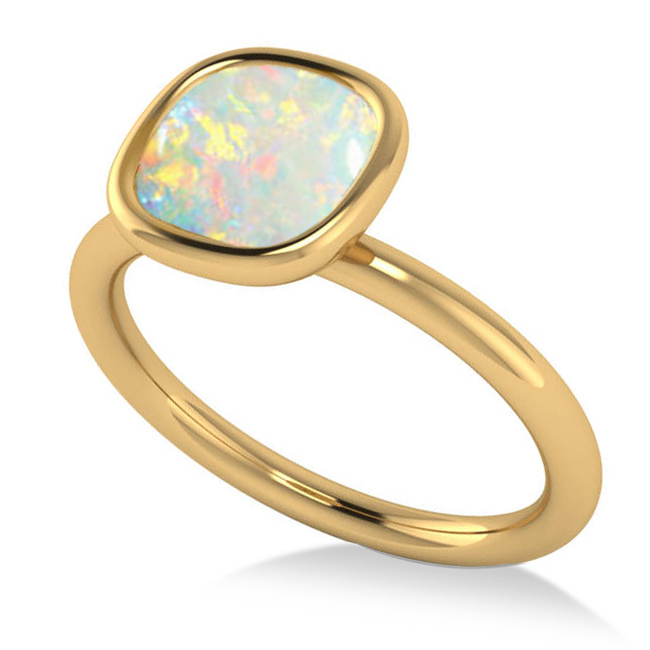 Cushion Cut Opal Solitaire Engagement Ring 14k Yellow Gold 1 90ct