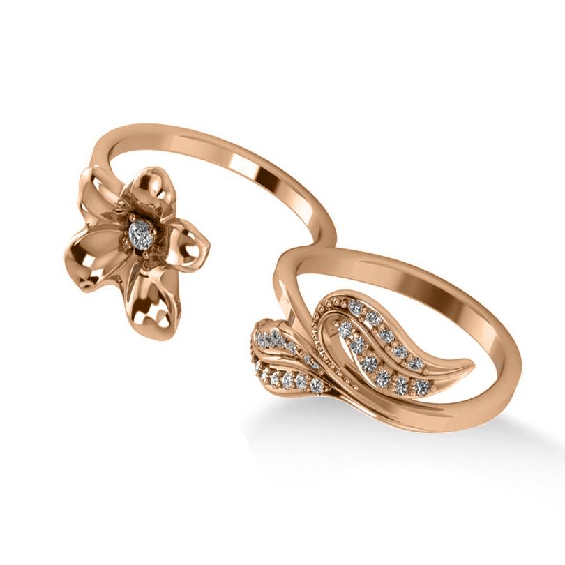 Diamond Floral Leaf Two Finger Ring 14k Rose Gold (0.28ct)