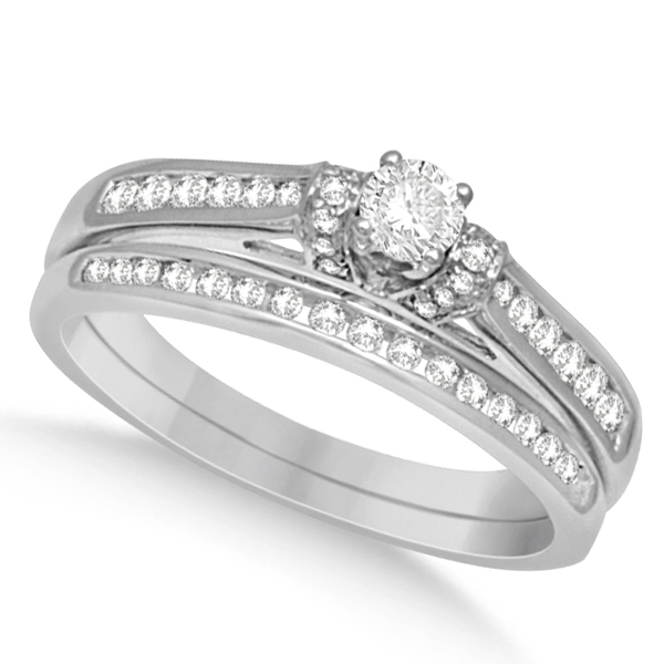 Three Stone Diamond Engagement Ring & Band Set 14k White Gold 0.52ct