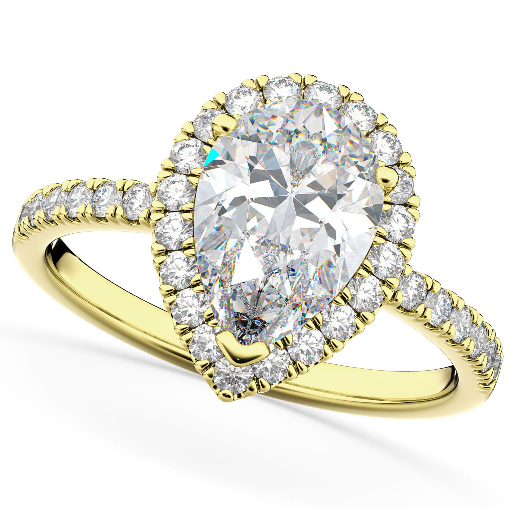 Pear Cut Halo Diamond Engagement Ring 14K Yellow Gold (2.51ct)