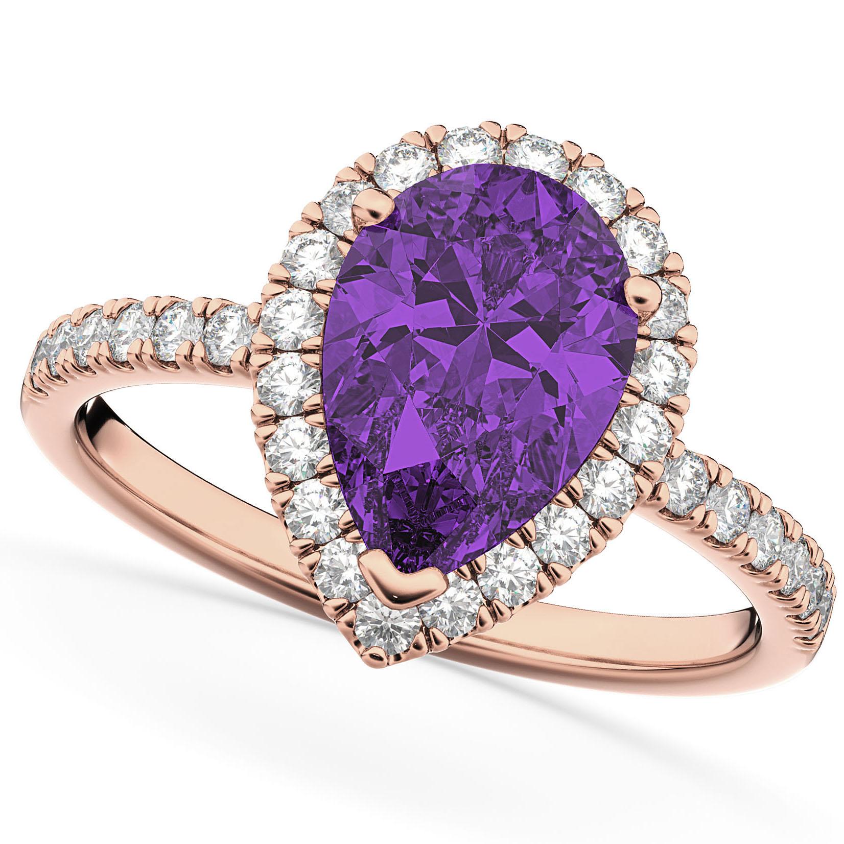 Pear Cut Halo Amethyst & Diamond Engagement Ring 14K Rose Gold 2.21ct