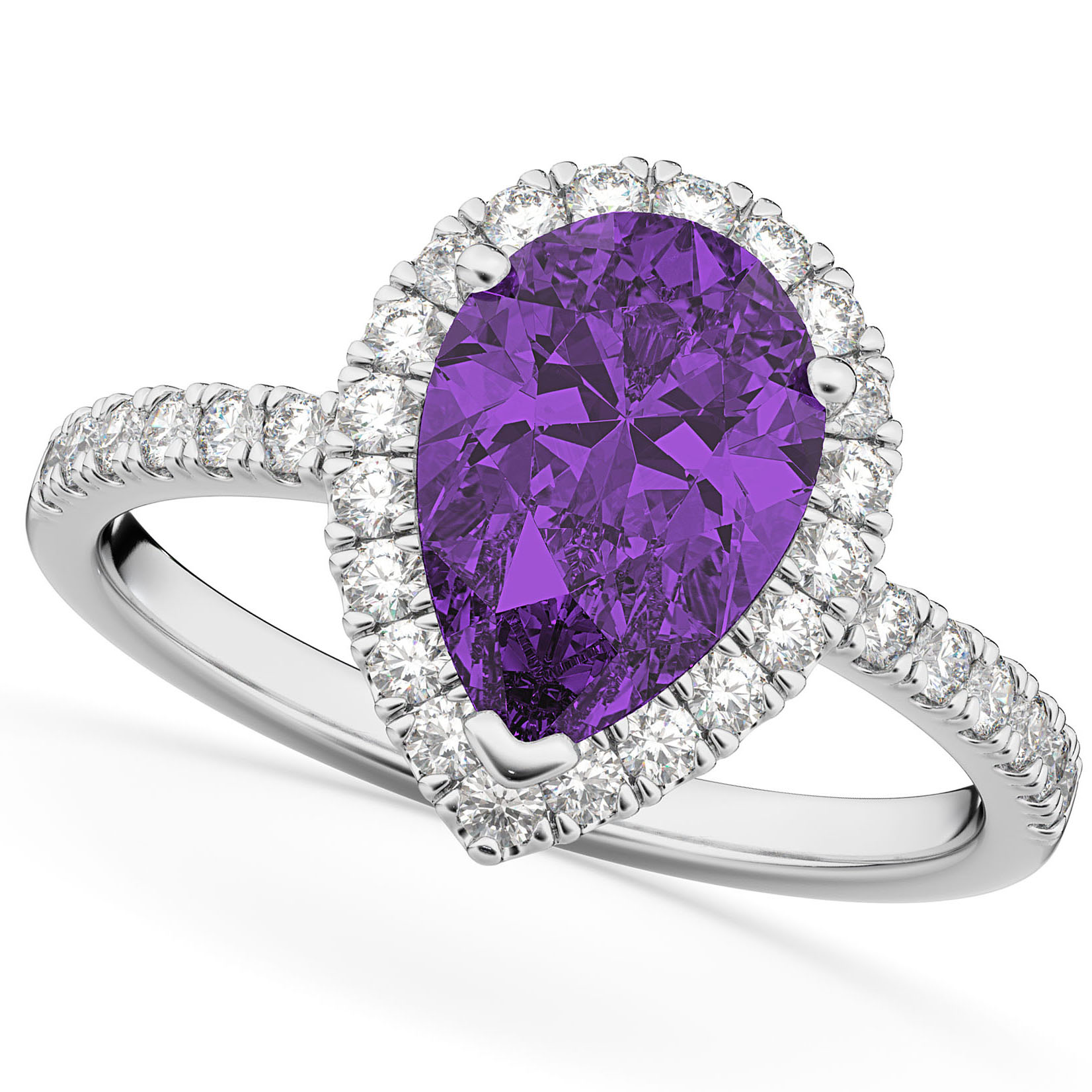 Pear Cut Halo Amethyst & Diamond Engagement Ring 14K White Gold 2.21ct