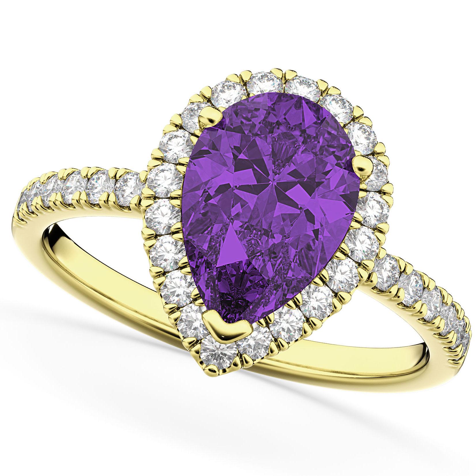 Pear Cut Halo Amethyst & Diamond Engagement Ring 14K Yellow Gold 2.21ct