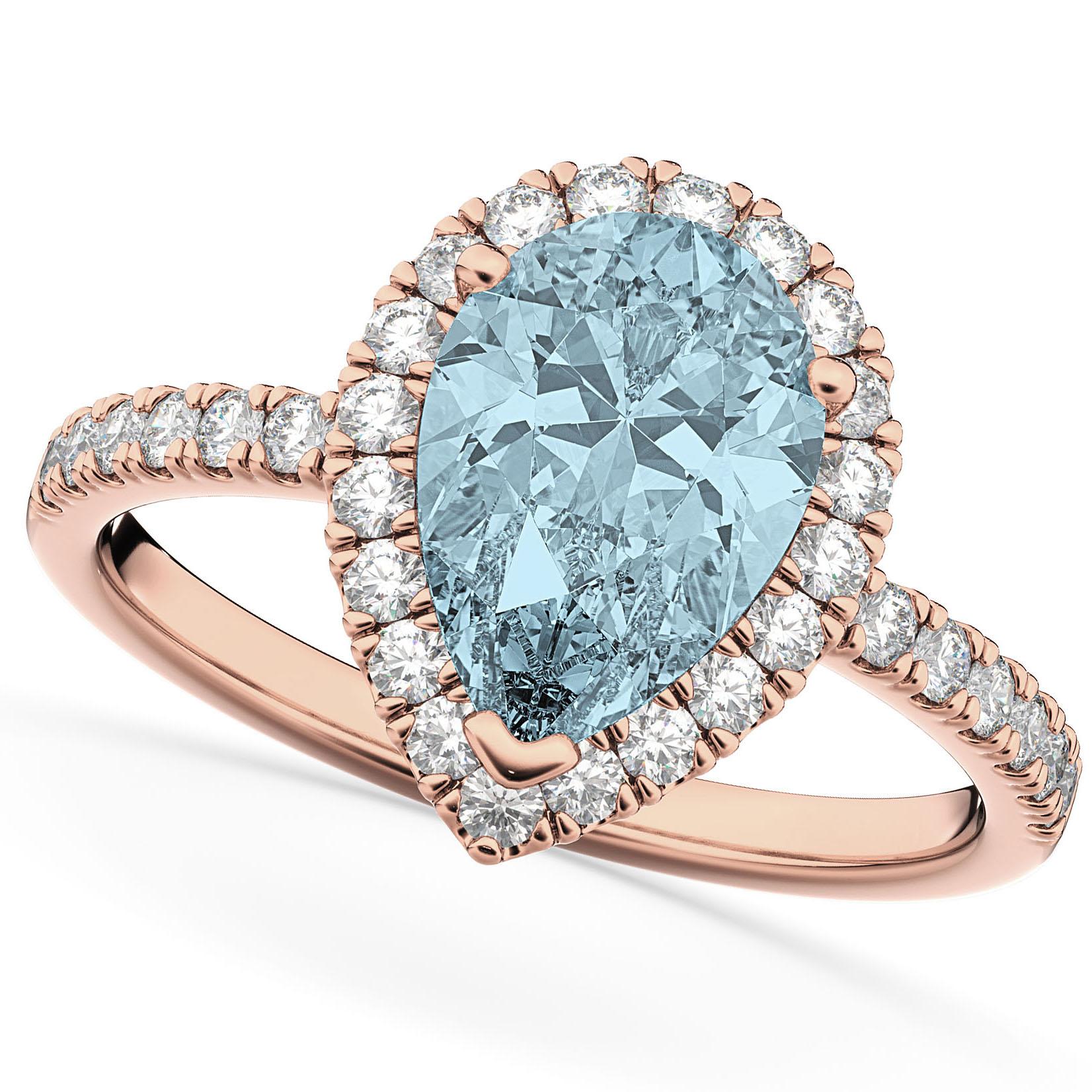 Pear Cut Halo Aquamarine & Diamond Engagement Ring 14K Rose Gold 2.36ct