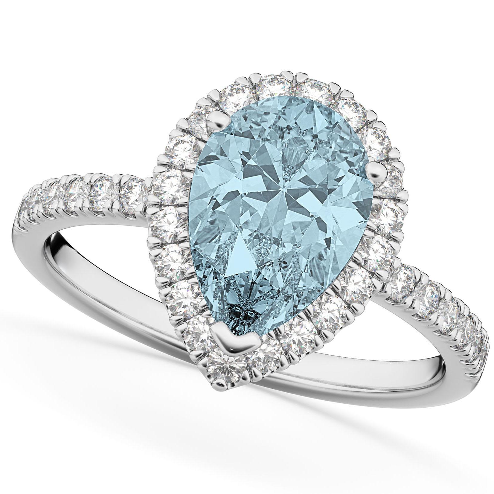Pear Cut Halo Aquamarine & Diamond Engagement Ring 14K White Gold 2.36ct