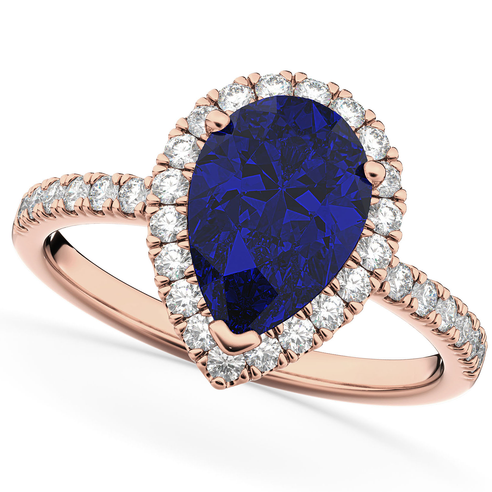 Pear Cut Halo Blue Sapphire Amp Diamond Engagement Ring 14k