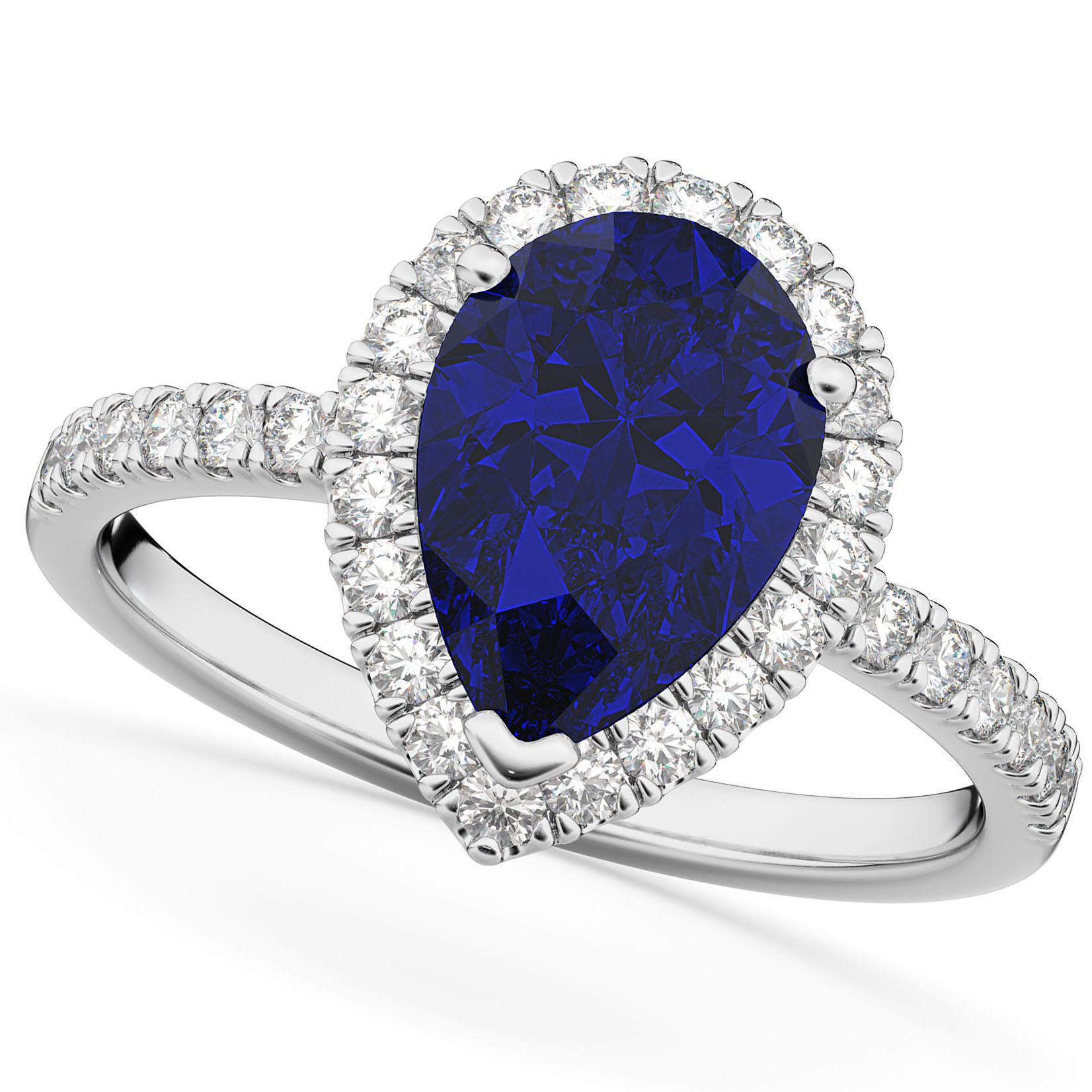 Pear Cut Halo Blue Sapphire & Diamond Engagement Ring 14K White Gold 3.01ct