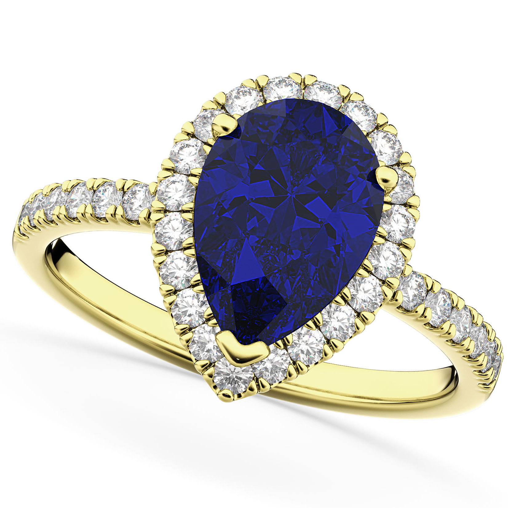 Pear Cut Halo Blue Sapphire & Diamond Engagement Ring 14K Yellow Gold 3.01ct