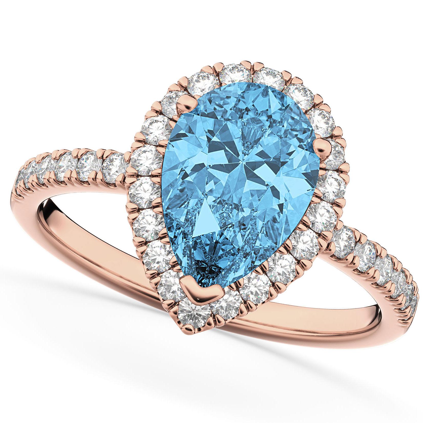 Pear Cut Halo Blue Topaz & Diamond Engagement Ring 14K Rose Gold 1.91ct