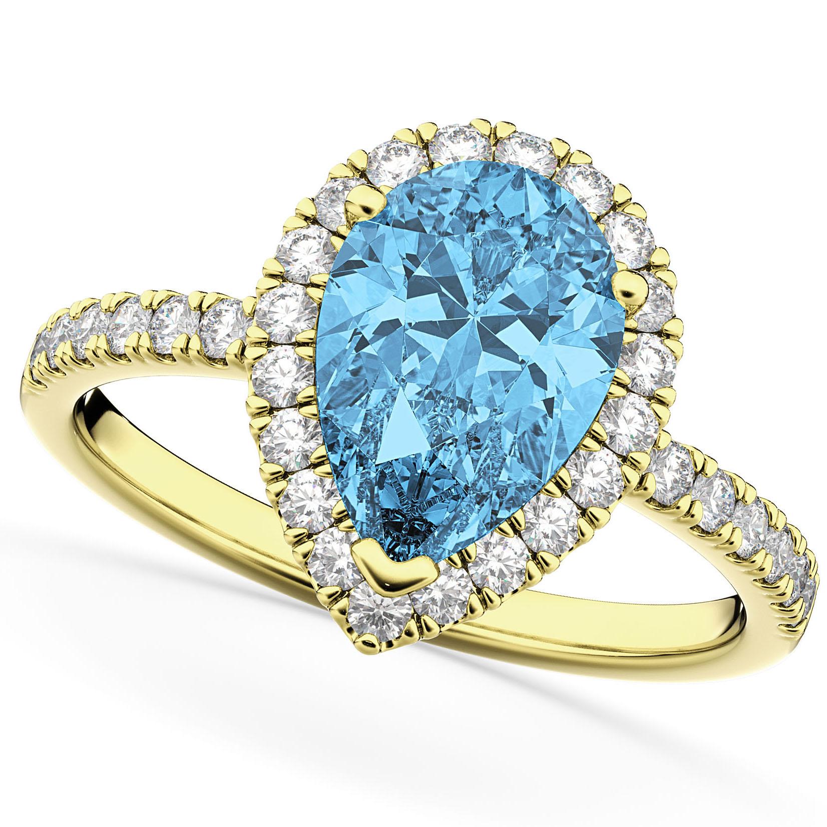 Pear Cut Halo Blue Topaz & Diamond Engagement Ring 14K Yellow Gold 1.91ct