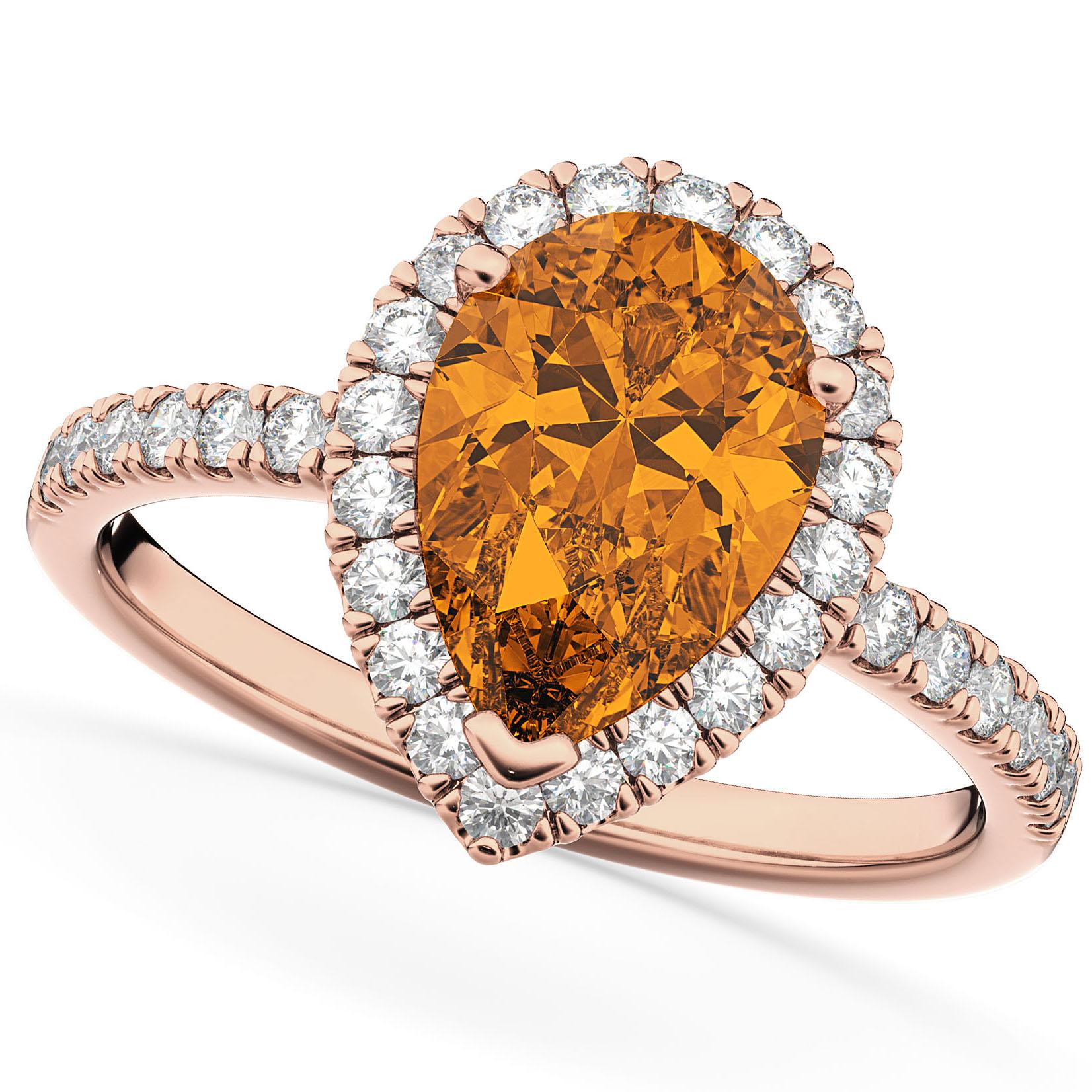 Pear Cut Halo Citrine & Diamond Engagement Ring 14K Rose Gold 2.21ct