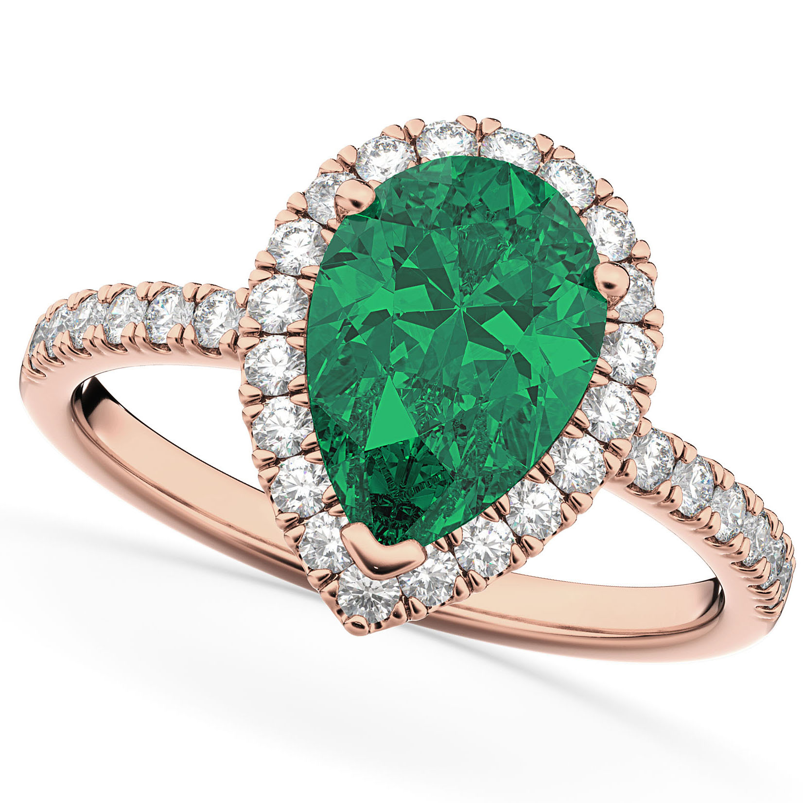 Pear Cut Halo Emerald & Diamond Engagement Ring 14K Rose Gold 3.21ct