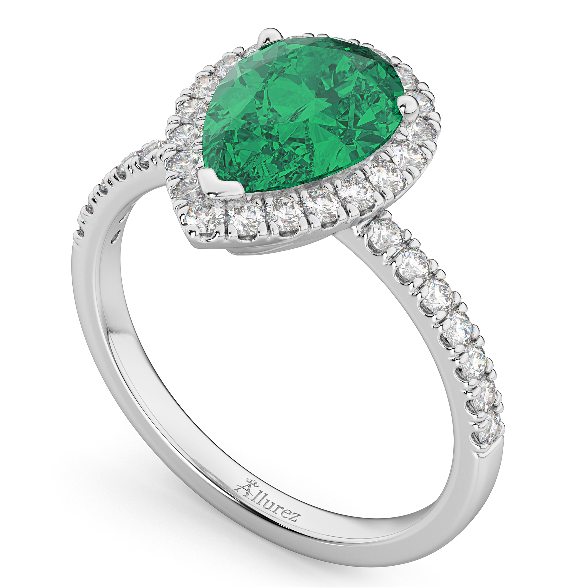 pear cut halo emerald engagement ring 14k white