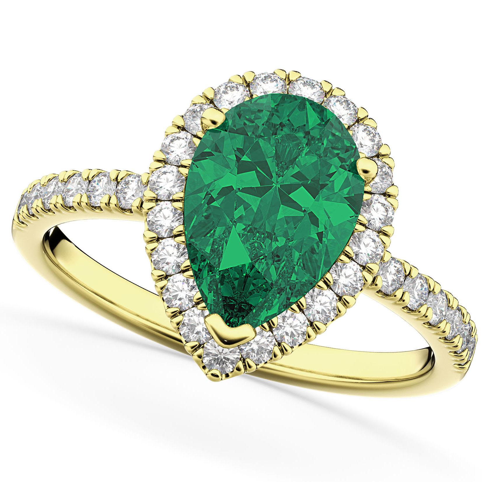 Pear Cut Halo Emerald & Diamond Engagement Ring 14K Yellow Gold 3.21ct