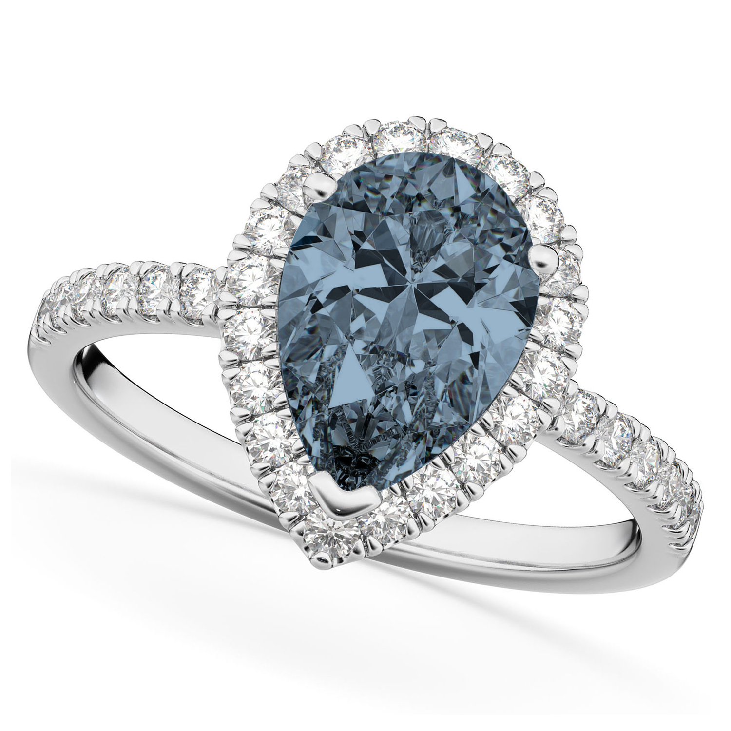 Pear Cut Halo Gray Spinel & Diamond Engagement Ring 14K White Gold 2.21ct