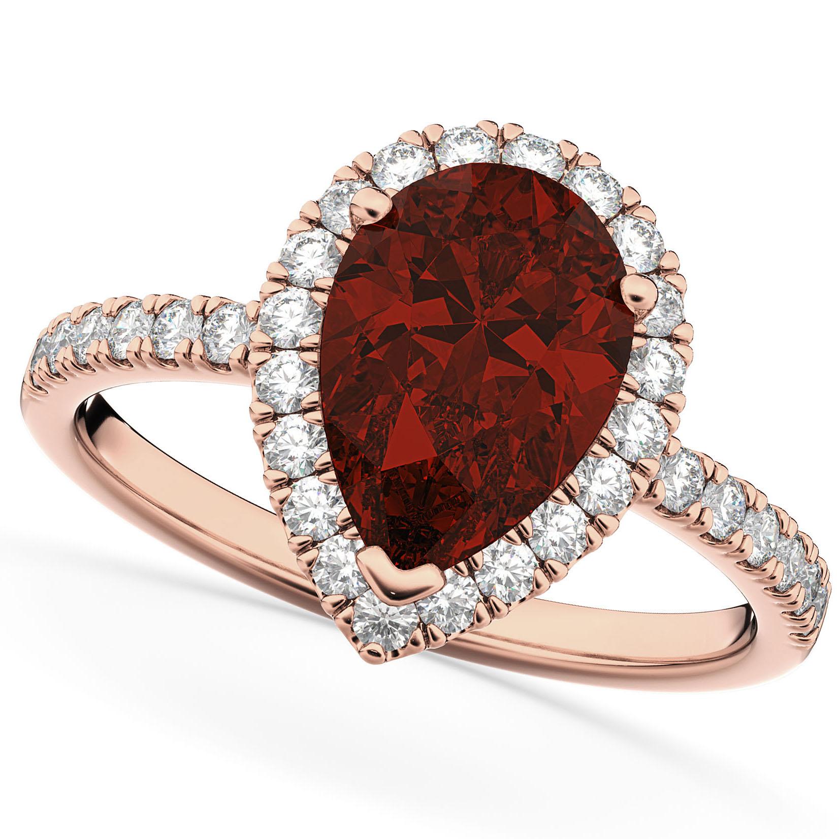 Pear Cut Halo Garnet & Diamond Engagement Ring 14K Rose Gold 2.31ct