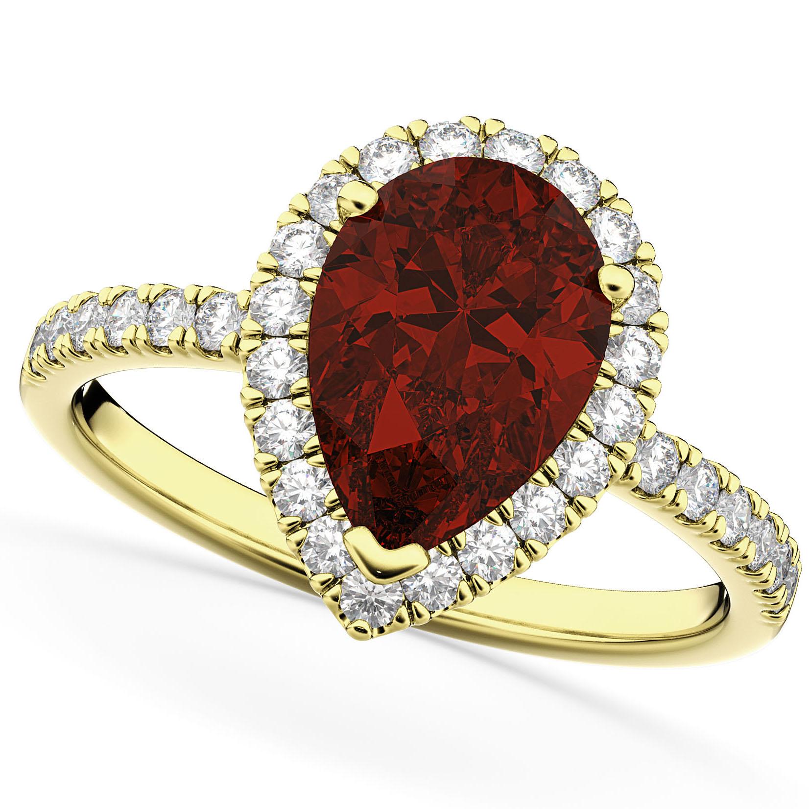 Pear Cut Halo Garnet & Diamond Engagement Ring 14K Yellow Gold 2.31ct