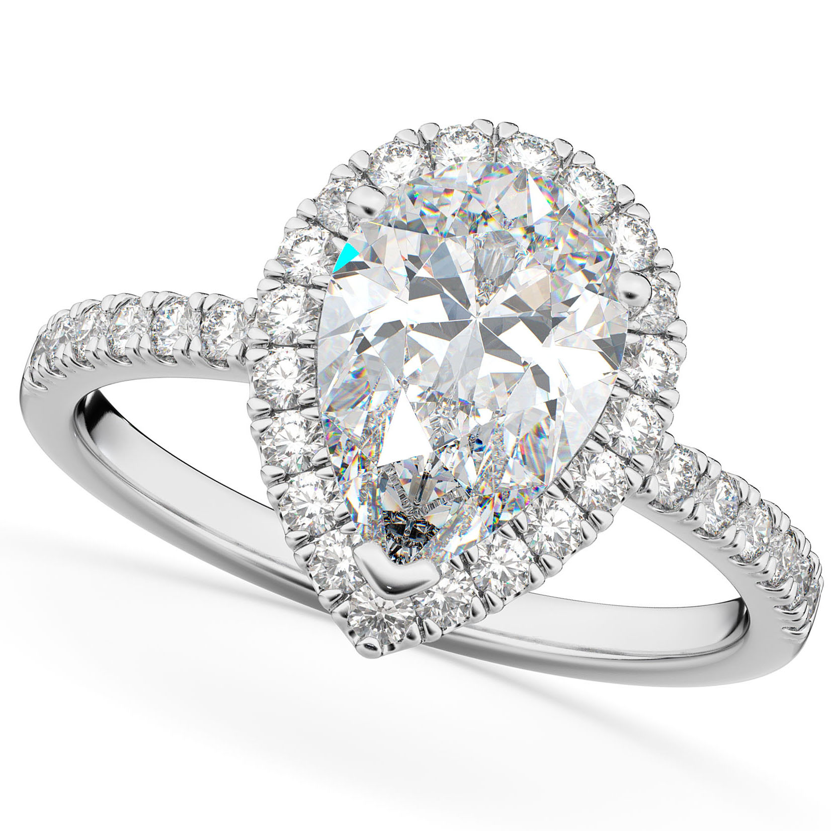 Pear Cut Halo Moissanite & Diamond Engagement Ring 14K White Gold 2.44ct