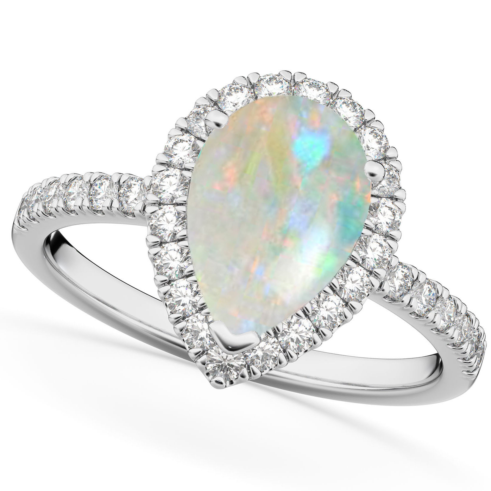 halo diamond opal gold rings engagement natural pin white ring