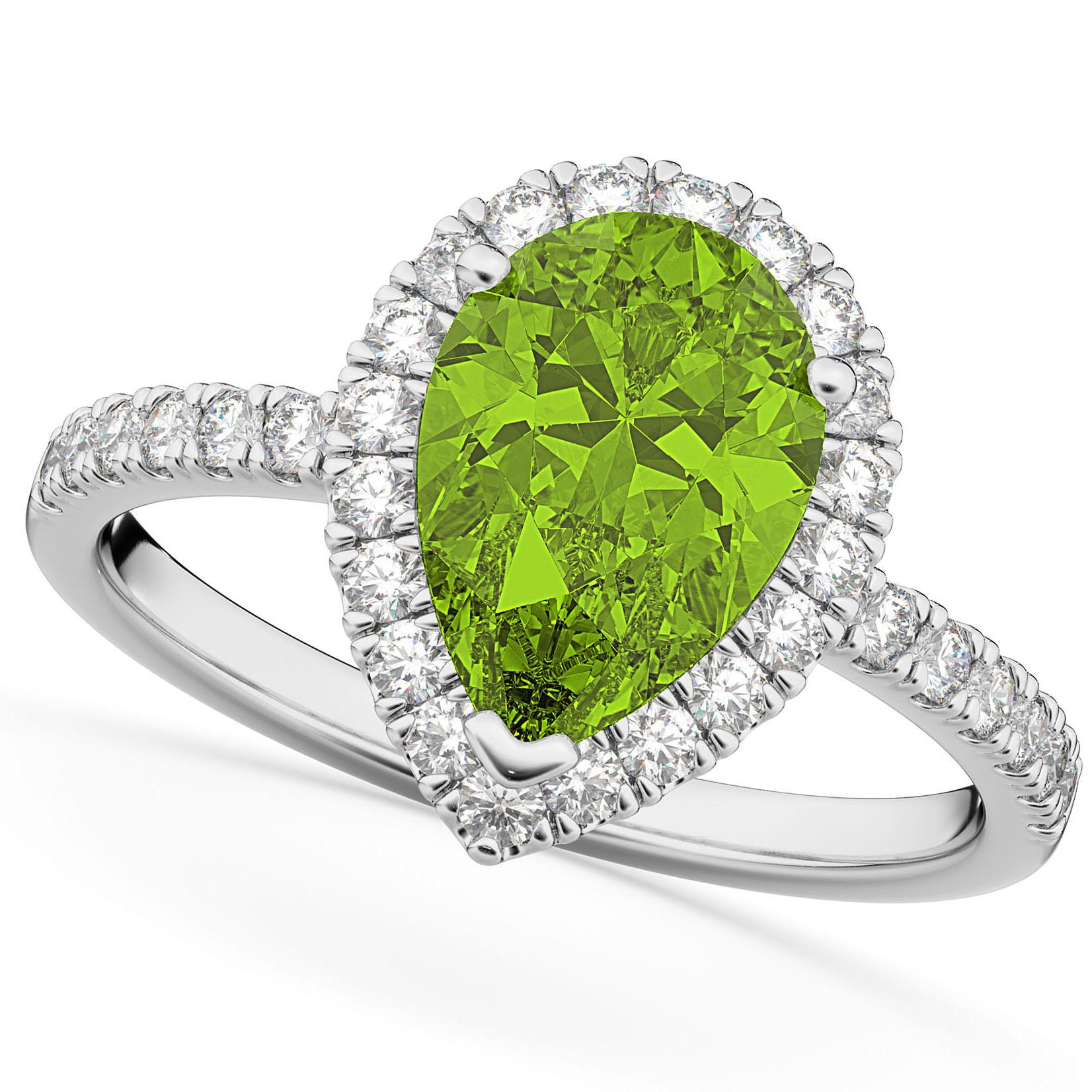 Pear Cut Halo Peridot & Diamond Engagement Ring 14K White Gold 1.91ct
