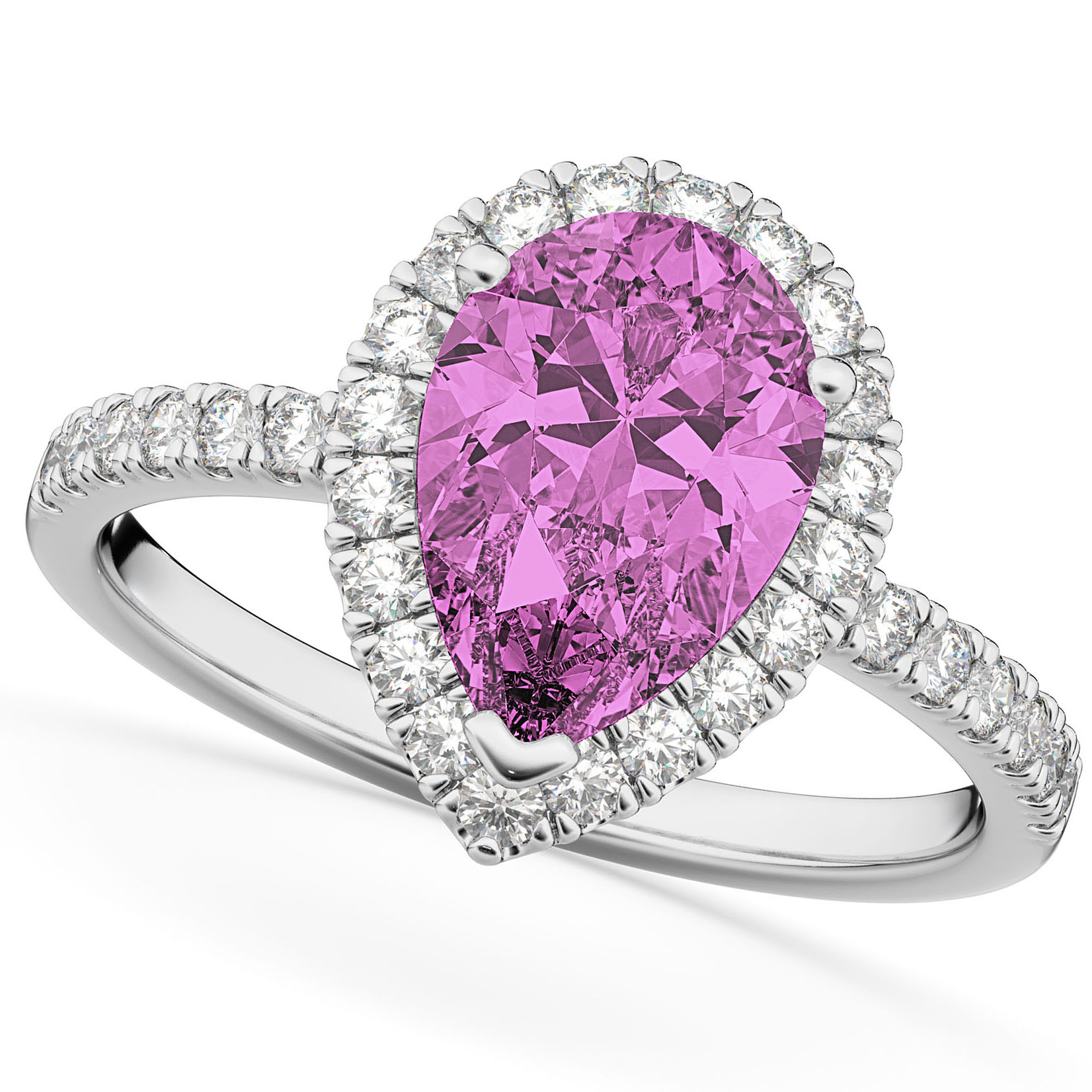 Pear Cut Halo Pink Sapphire & Diamond Engagement Ring 14K White Gold 3.01ct