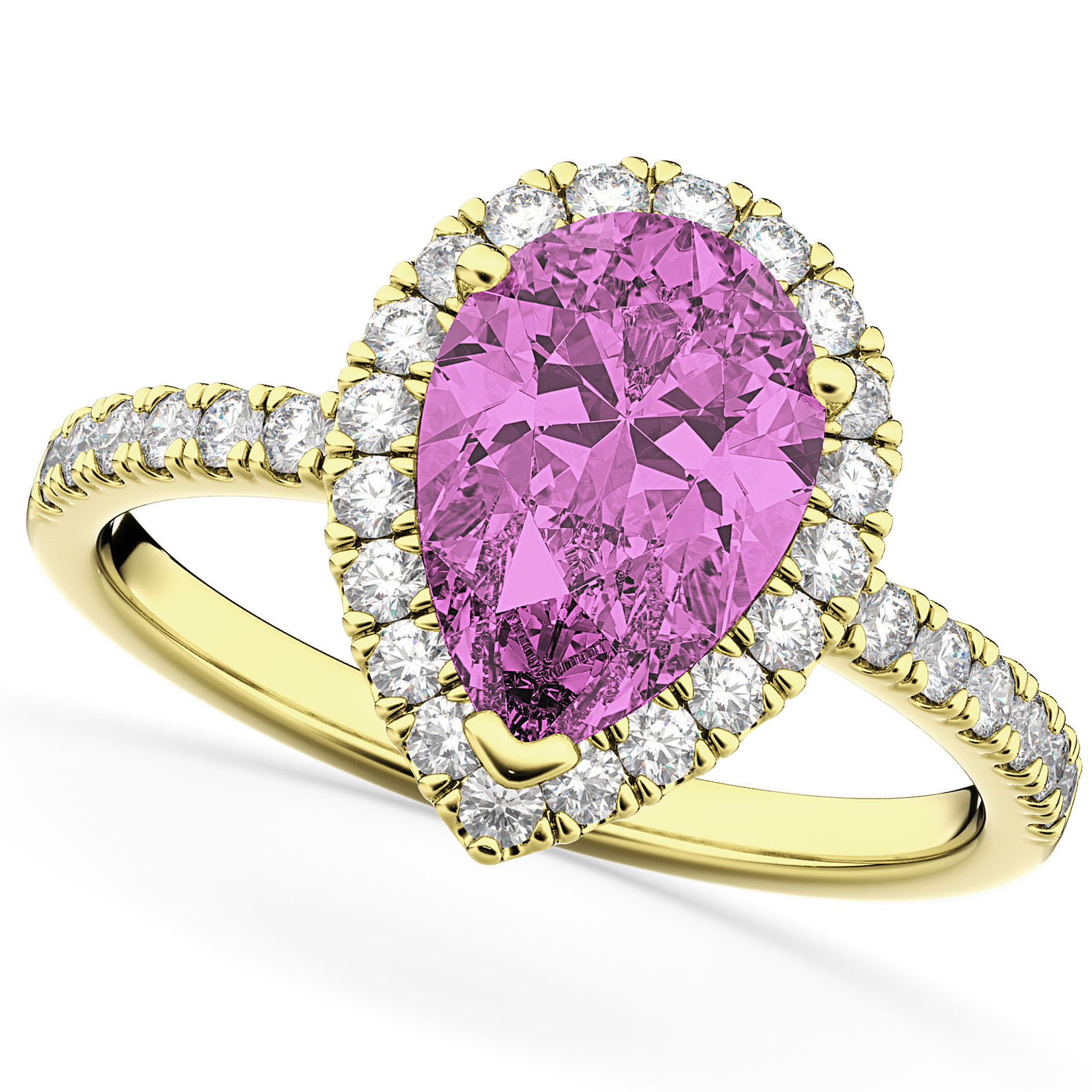 Pear Cut Halo Pink Sapphire & Diamond Engagement Ring 14K Yellow Gold 3.01ct