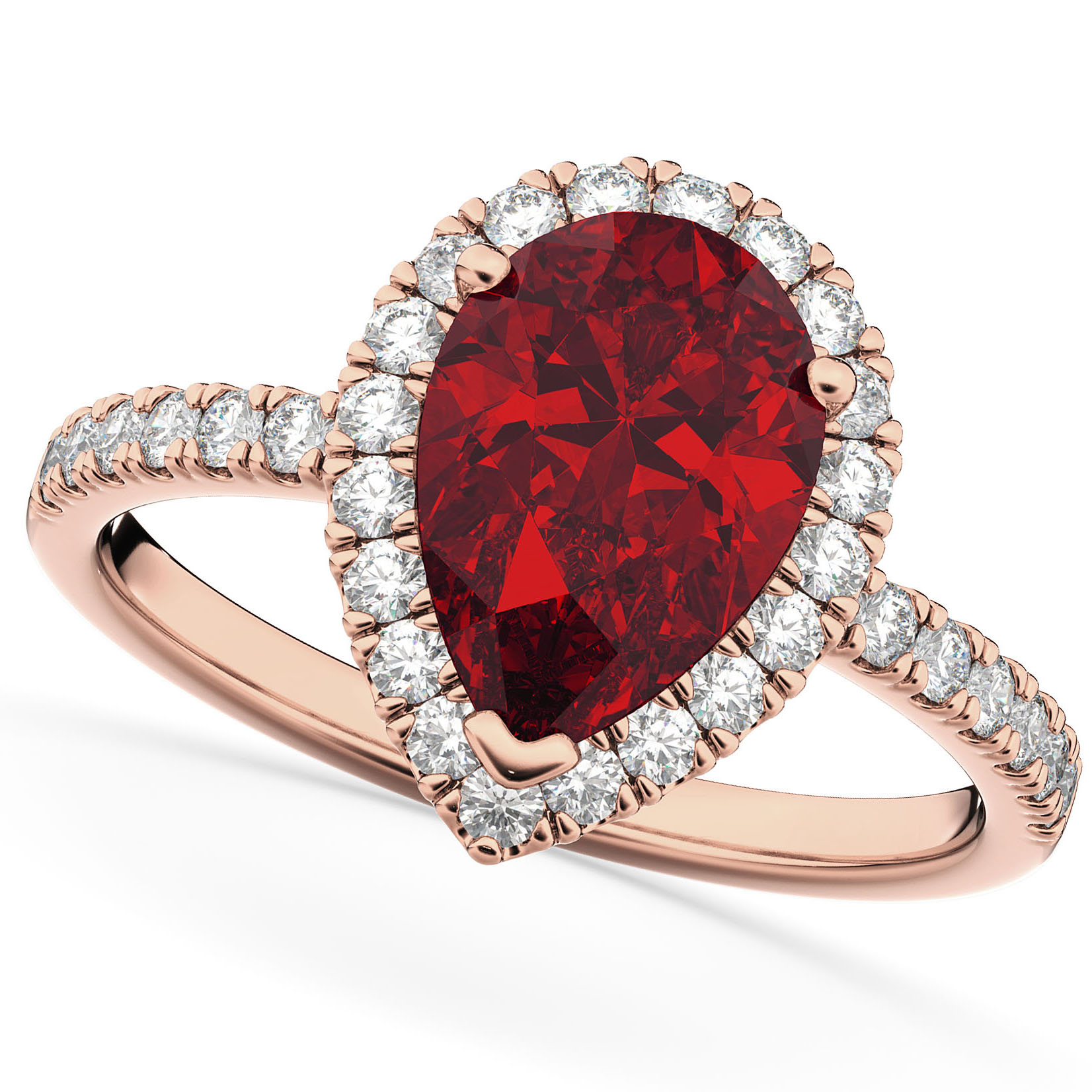 Pear Cut Halo Ruby & Diamond Engagement Ring 14K Rose Gold ...