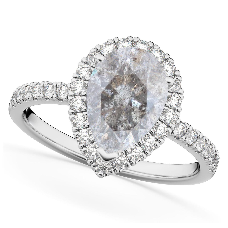 Pear Salt & Pepper Diamond & Diamond Engagement Ring 14K White Gold (2.51ct)