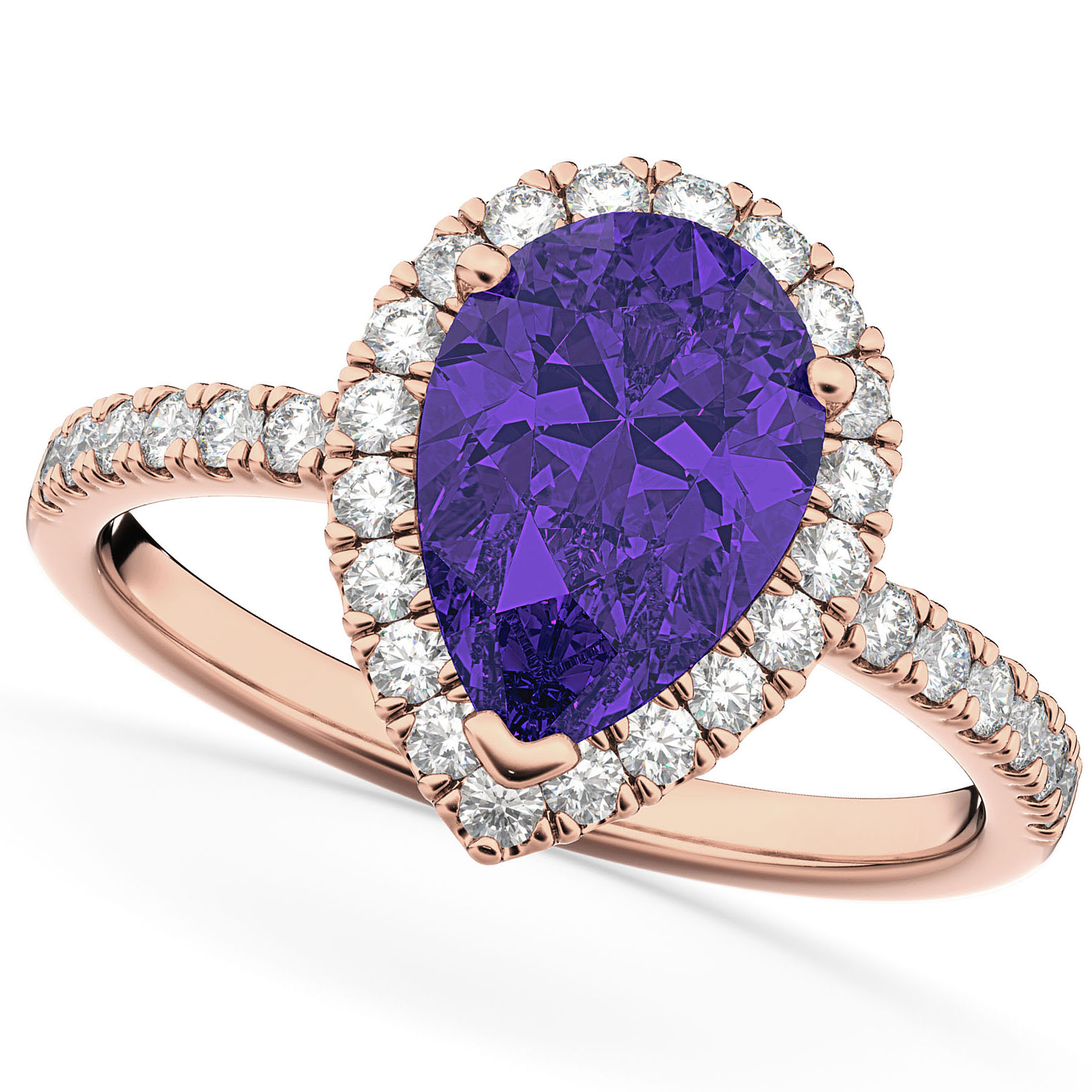 Pear Cut Halo Tanzanite & Diamond Engagement Ring 14K Rose Gold 1.54ct