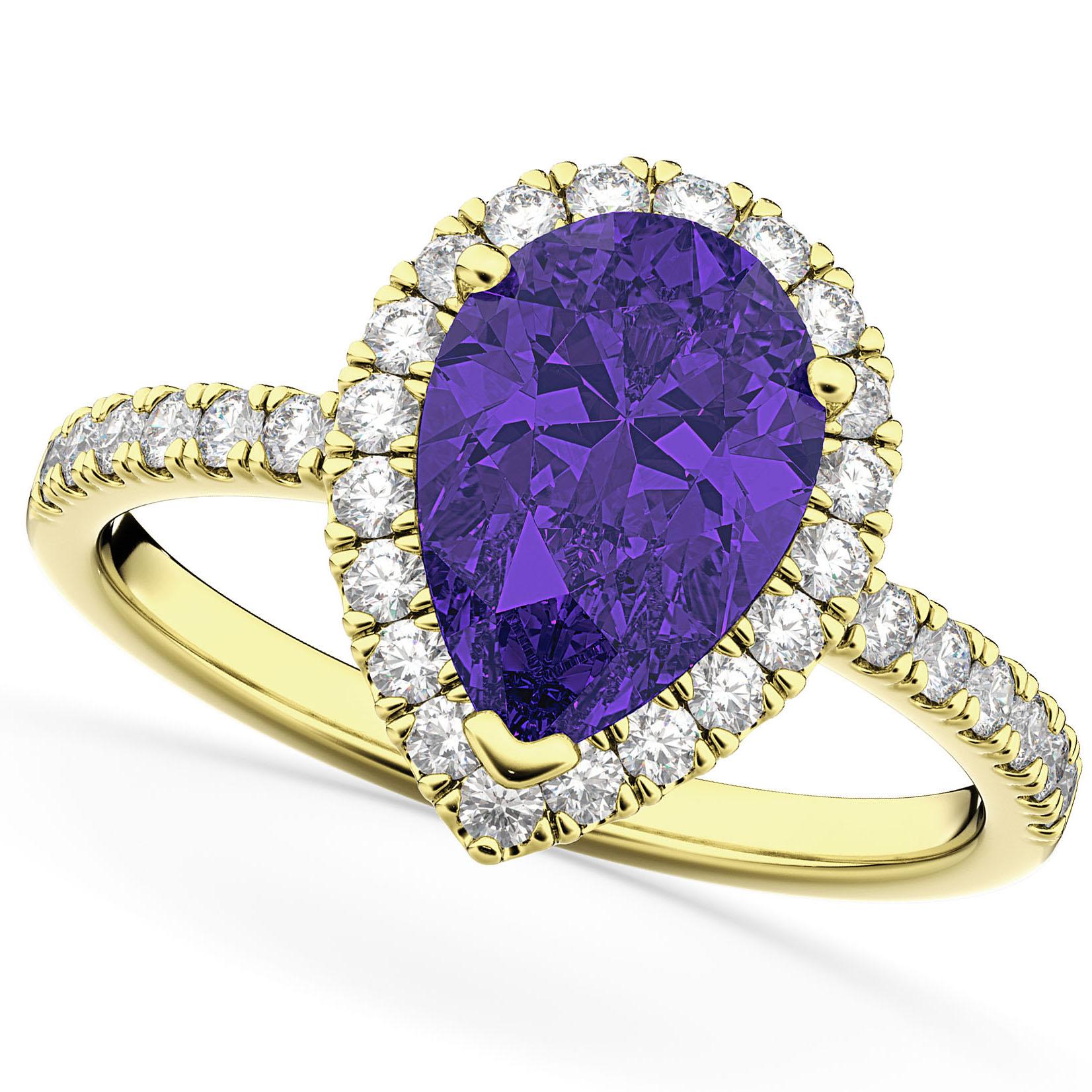 Pear Cut Halo Tanzanite & Diamond Engagement Ring 14K Yellow Gold 1.54ct