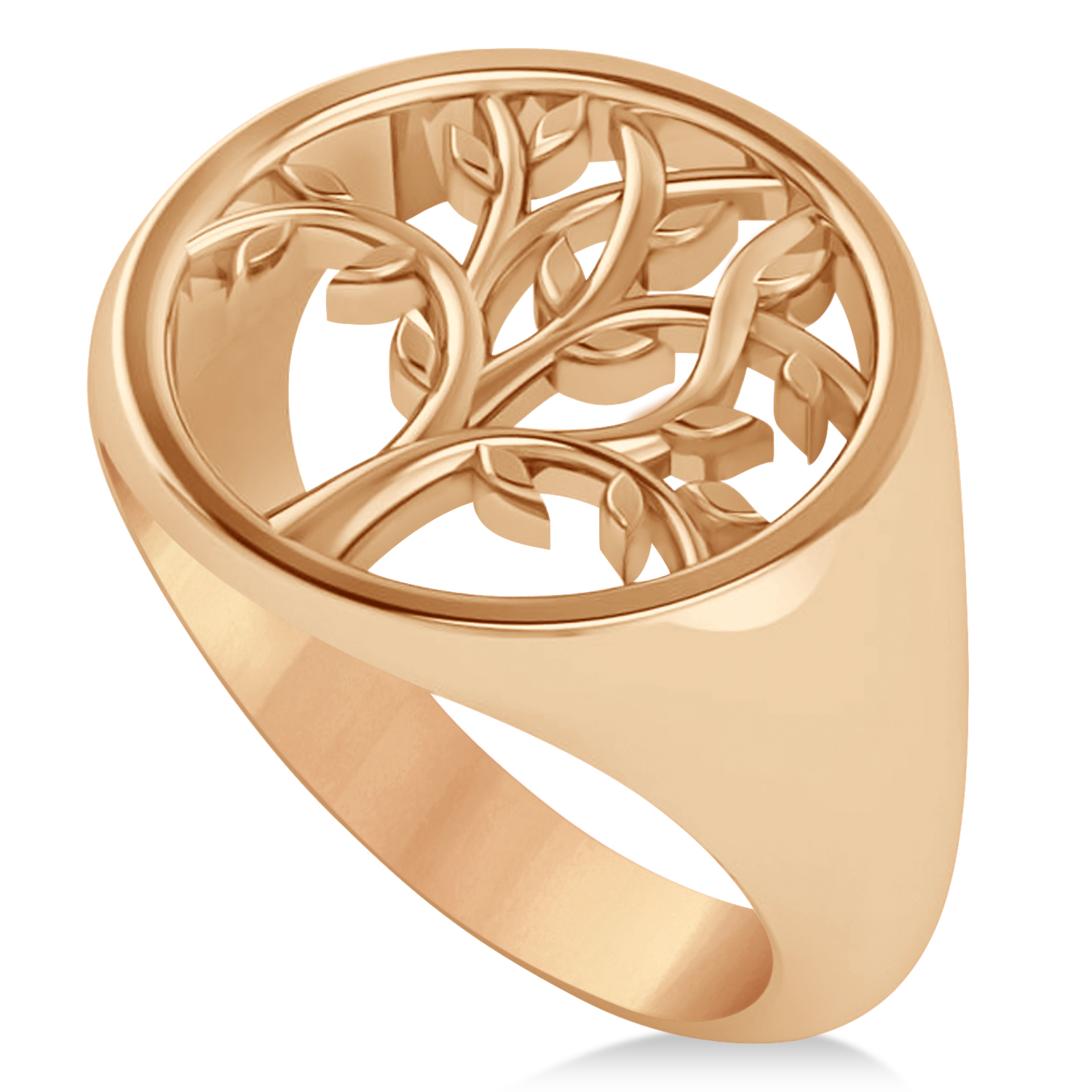 Family Tree of Life Ladies Signet Ring 14k Rose Gold
