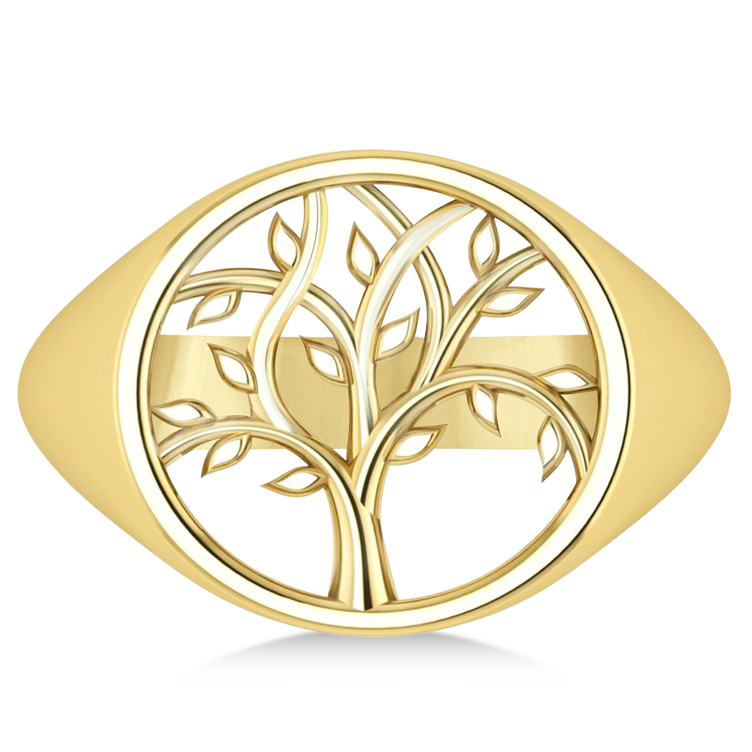 Family Tree of Life Ladies Signet Ring 14k Yellow Gold
