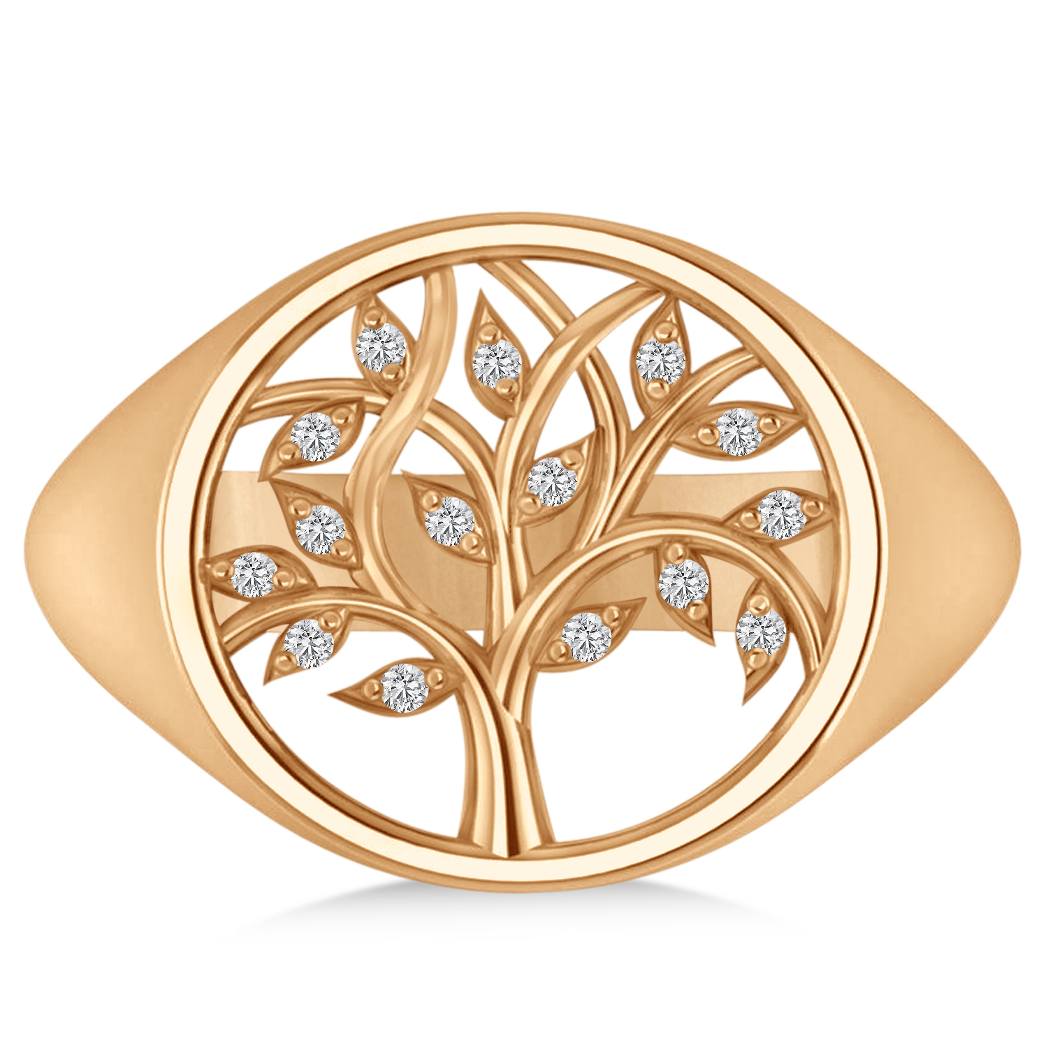 Family Tree of Life Diamond Signet Ring 14k Rose Gold (0.08ct)