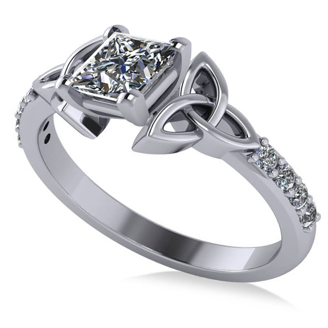 Engagement Rings Knot: Princess Cut Diamond Celtic Knot Engagement Ring 18k White