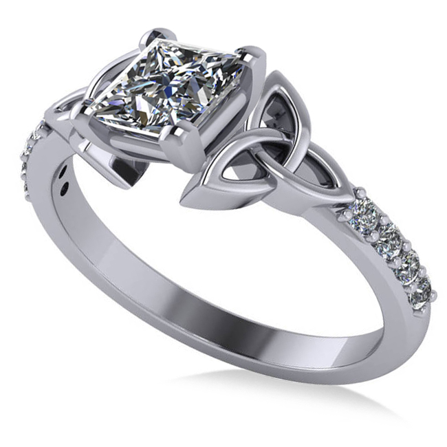 Princess Diamond Celtic Knot Engagement Ring 14K White Gold (1.00ct)
