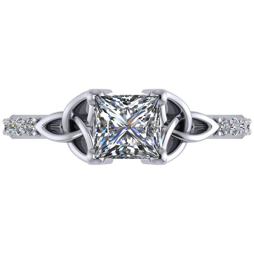 Princess Cut Diamond Celtic Knot Engagement Ring 18k White ...