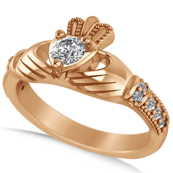 Diamond Claddagh Engagement Ring in 14k Rose Gold (0.42ct)