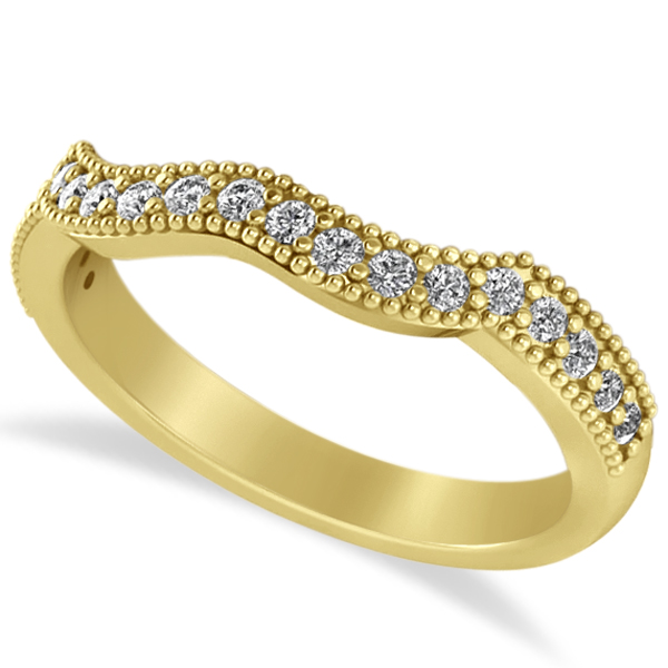 Diamond Accented Contoured Wedding Band in 14k Yellow Gold (0.29ct)