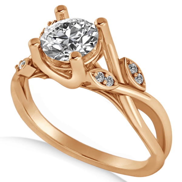 Diamond Accented Tree Engagement Ring in 14k Rose Gold (1.08ct)