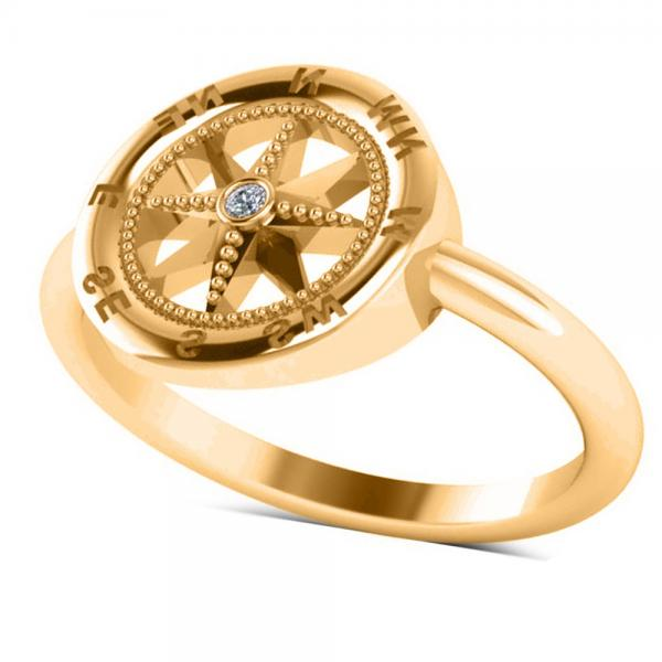 Diamond Accented Compass Fashion Ring in 14k Yellow Gold (0.01ct)