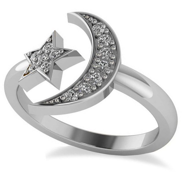 Crescent Moon and Star Diamond Ring 14k White Gold (0.17ct)