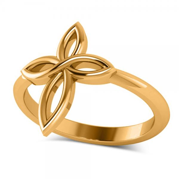 Irish Celtic Knot Cross Fashion Ring Plain Metal 14k Yellow Gold