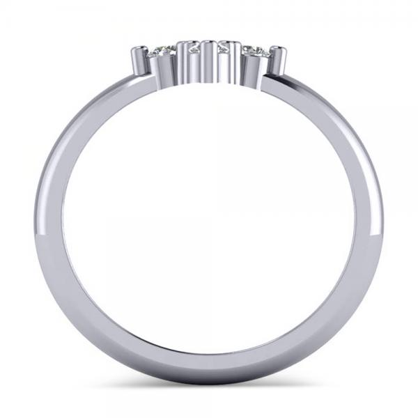 Small Religious Cross Round-Cut Diamond Ring 14k White Gold (0.30ct)