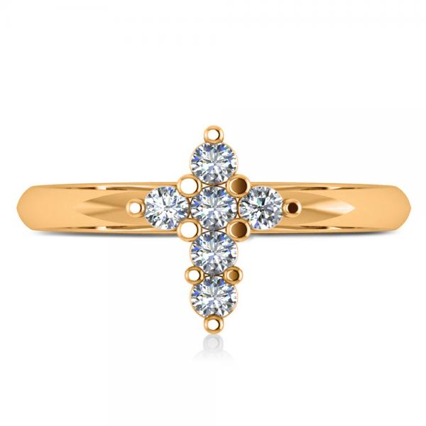 Small Religious Cross Round-Cut Diamond Ring 14k Yellow Gold (0.30ct)