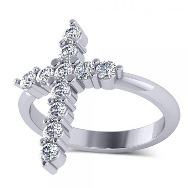 Large Religious Cross Round-Cut Diamond Ring 14k White Gold (0.55ct)