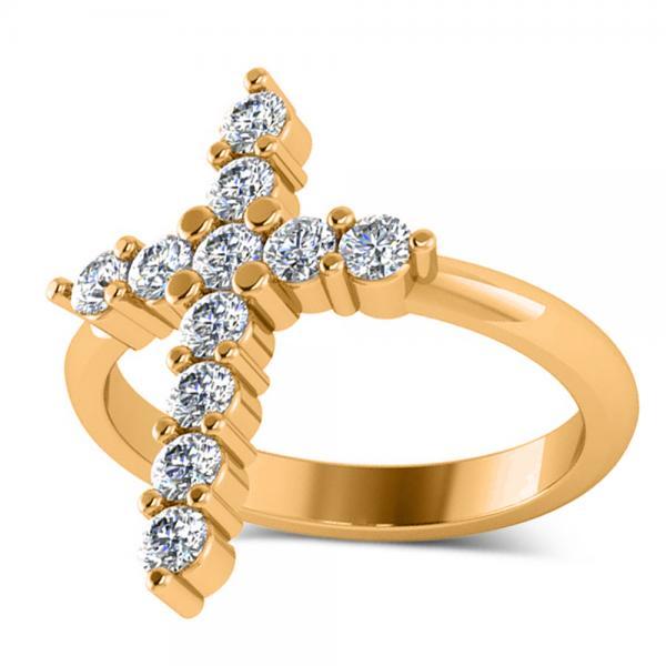 Large Religious Cross Round-Cut Diamond Ring 14k Yellow Gold (0.55ct)