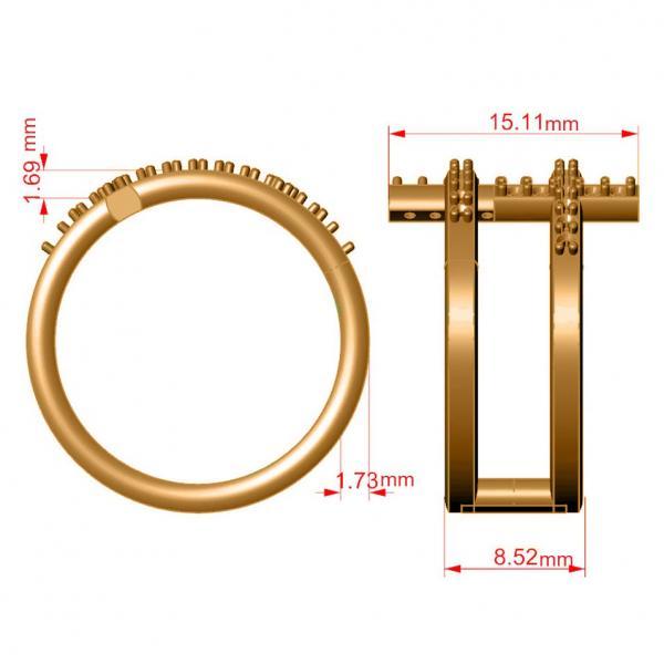 Double Sideways Religious Cross Diamond Ring 14k Yellow Gold (0.32ct)