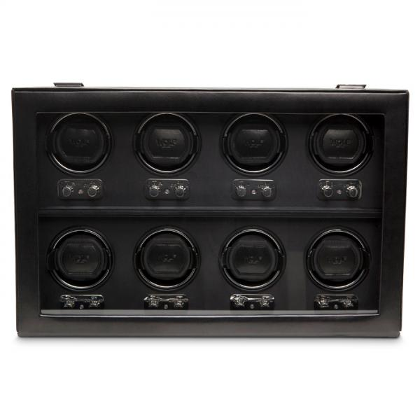 WOLF Heritage Men's 8 Watch Winder Faux Leather Glass Cover Preset Winding Programs
